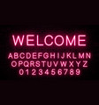 neon letters of the english alphabet vector image vector image