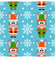 new year seamless card with funny rabbit santa cla vector image vector image