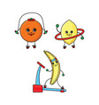 orange lemon and banana characters doing sport vector image vector image