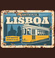 portugal travel lisbon tram metal plate rusty vector image