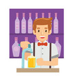 professional male bartender making cocktails and vector image vector image