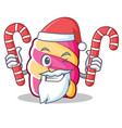 santa with candy marshmallow character cartoon vector image vector image