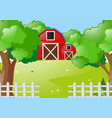 scene with red barns in the farm vector image
