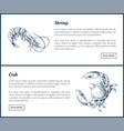 seafood and crustacean icons vintage vector image vector image
