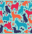 seamless pattern with different dog breeds vector image vector image