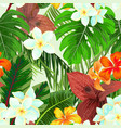seamless pattern with palm leaves and flowers vector image vector image