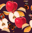 seamless pattern with red apples and leaves vector image vector image