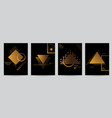 set of black covers with minimal design and gold vector image vector image