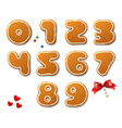 Set of numbers in shape of Christmas gingerbreads vector image vector image
