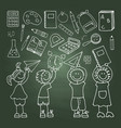 shool icons on the green blackboard vector image vector image