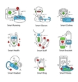 Smart Technology Line Icon Set vector image