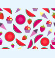 summer seamless pattern with fruits and ice cream vector image vector image