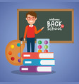 teacher male with school supplies vector image vector image