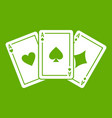 three aces playing cards icon green vector image vector image