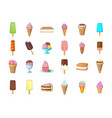 ice cream icon set cartoon style vector image