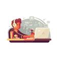 Web developer works on laptop vector image