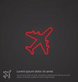 airplane outline symbol red on dark background vector image