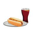 hot dog and soda fast food products design vector image