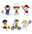 Set of cartoon sport icons vector image