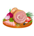 a delicious meat loaf and slices ham in spices vector image vector image