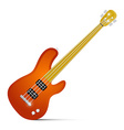 Abstract Orange Fretless Bass Guitar Isolated on vector image