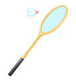 badminton racket with shuttlecock vector image