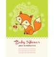 bashower invitation card with a fox vector image vector image