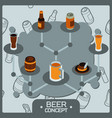 beer concept isometric icons vector image vector image