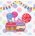 birthday candies cartoons vector image