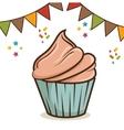 birthday cupcake dessert vector image vector image