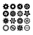 Black different silhouettes of cogwheels on white vector image
