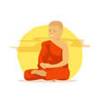 buddhist monk with orange robes are doing vector image vector image