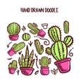 cactus and succulent doodle set vector image