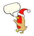 cartoon christmas robin with speech bubble vector image vector image