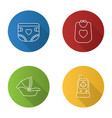childcare flat linear long shadow icons set vector image