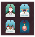 collection of christmas tags with miniature scenes vector image