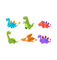 collection of colorful cute dinosaurs happy vector image