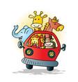 cute animals on car cartoon