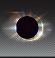 Digital solar eclipse light rays and lens flare vector image