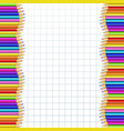 double frame made of colorful wooden pencils on vector image vector image