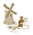 ears of wheat sacks of flour and windmill on the vector image vector image