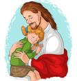 embrace god jesus hugging girl vector image vector image