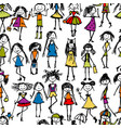 fashion girls seamless pattern for your design vector image vector image