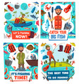 fishermen fishing sport equipment and fish catch vector image vector image
