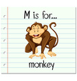 Flashcard letter M is for monkey vector image vector image