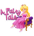 font design for word a fairytale with beautiful vector image