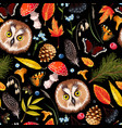 forest seamless pattern with owl and leaves vector image vector image