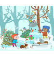 funny kids play with snow in the forest snowman vector image