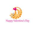 funny orange in love cat vector image vector image