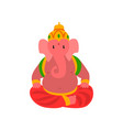 ganesha indian god of wisdom and wealth vector image vector image